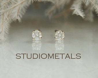 Tiny Real Diamond Studs, 2mm White Gold Stud Earrings, Small Solid 14K Gold Diamond Earrings for Second Piercings