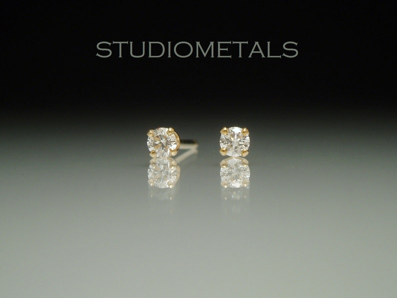 34e3515c4 Small Yellow Gold Diamond Studs Petite Diamond Stud Earrings | Etsy