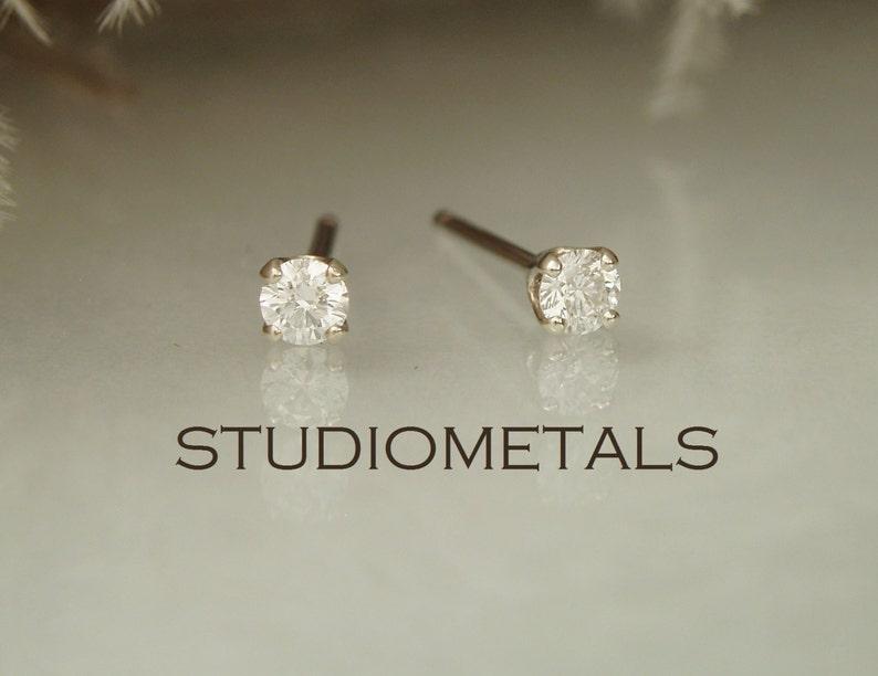 d2ee61717 Small Diamond Studs 14K Gold Diamond Stud Earrings Real   Etsy