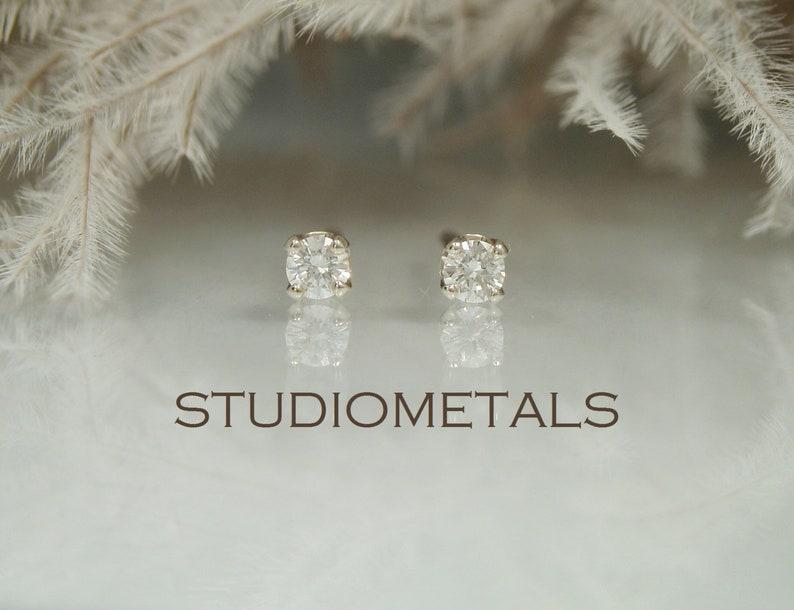 63ec15403 Tiny Real Diamond Studs 2mm White Gold Stud Earrings Small | Etsy