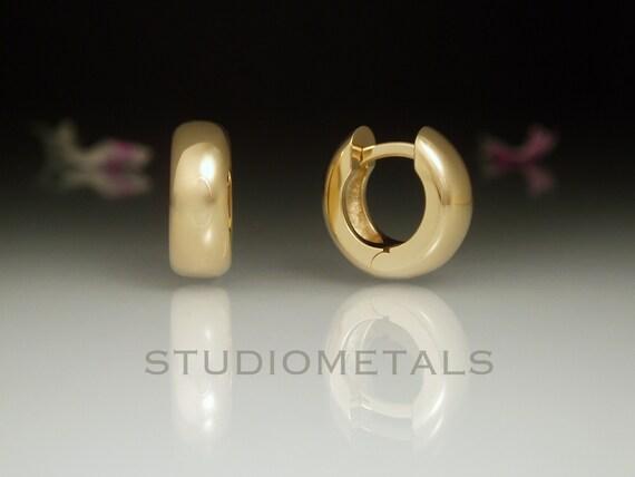 Wide Huggie Baby /& Toddler Earrings In 14k Rose Gold Tiny Hoop Earrings