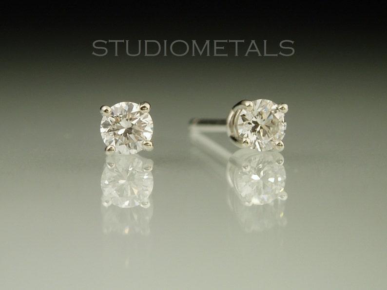 0f50a9cf3 Real Diamond Stud Earrings 3mm Diamond Earrings Diamond | Etsy
