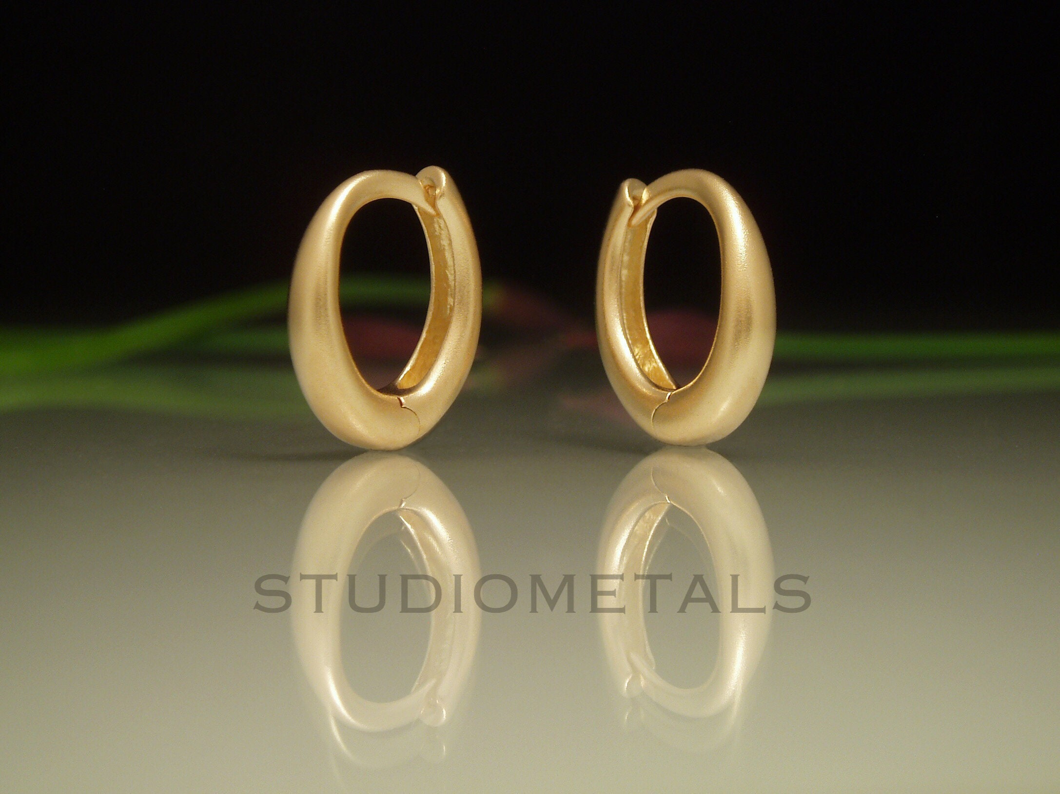 Matte Gold Hoops Small Gold Hoop Earrings 13mm Hoops Solid