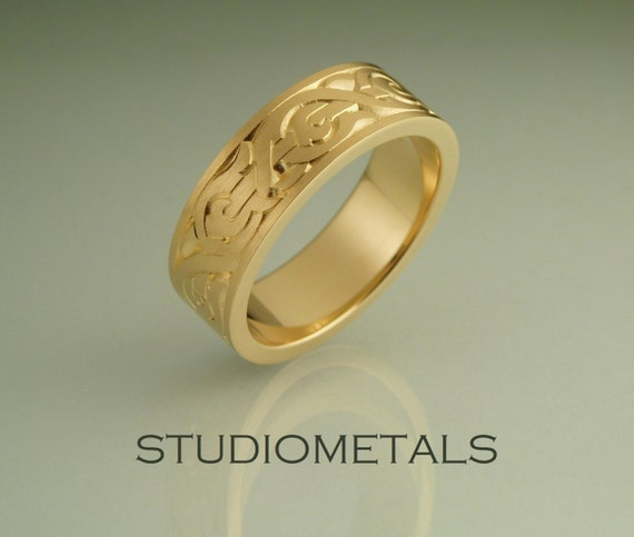18k Gold Nordic Mens Wedding Band Mens Engraved Viking Etsy