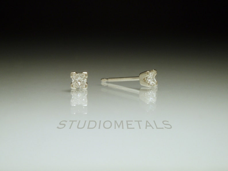 8917ab65c Princess Cut Diamond Studs Small Diamond Earrings Square   Etsy