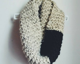 Color Block Chunky Knit Infinity Scarf Cowl | the LAUREN | in Oatmeal and Raven