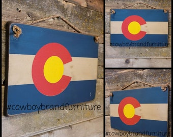Colorado Flag, Western, Rustic, Antiqued, Wooden Sign