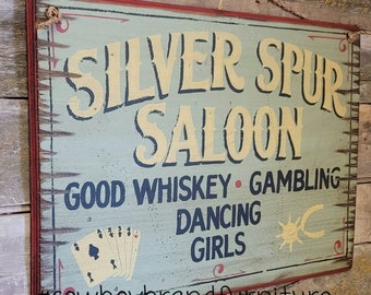 Silver Spur Saloon, Western, Antiqued, Wooden Sign