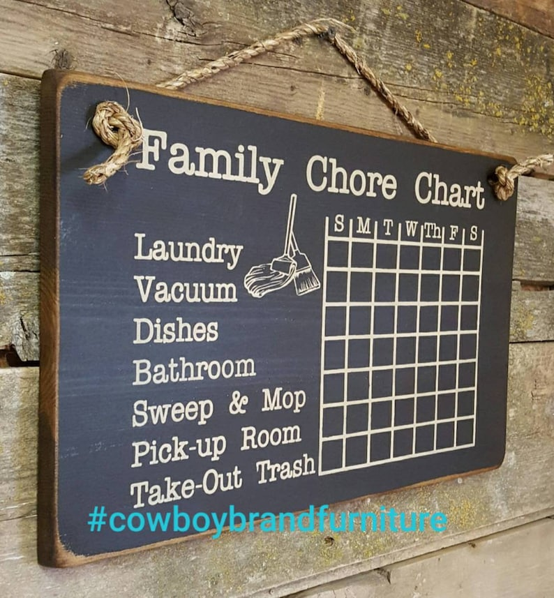 Chalkboard Family Chore Chart Rustic Western Antiqued image 0