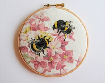 Bumble Bee embroidery, insect embroidery, embroidery hoop textile art, cottage chic, home decor.
