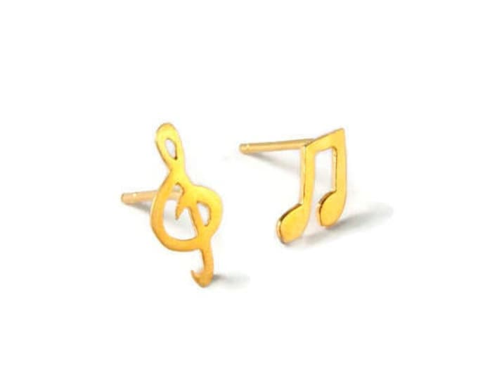 Music Notes Sol Key Studs Sterling Silver