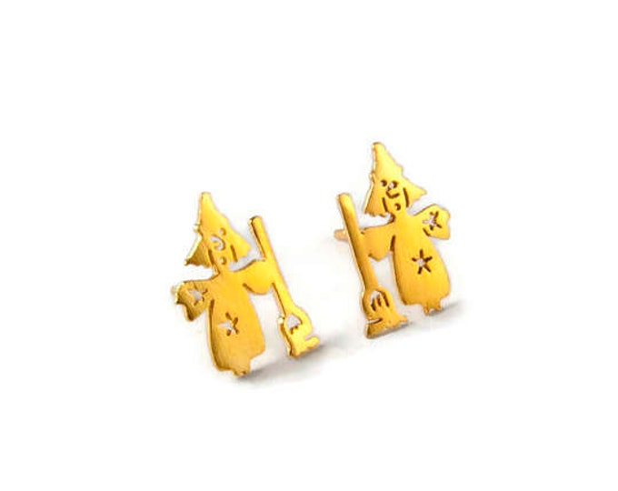 Witch sterling Silver Yellow Gold Plated Studs