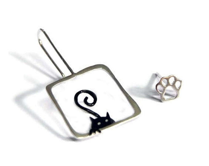 Hide and Seek Cat Whimsical Mismatched Earrings