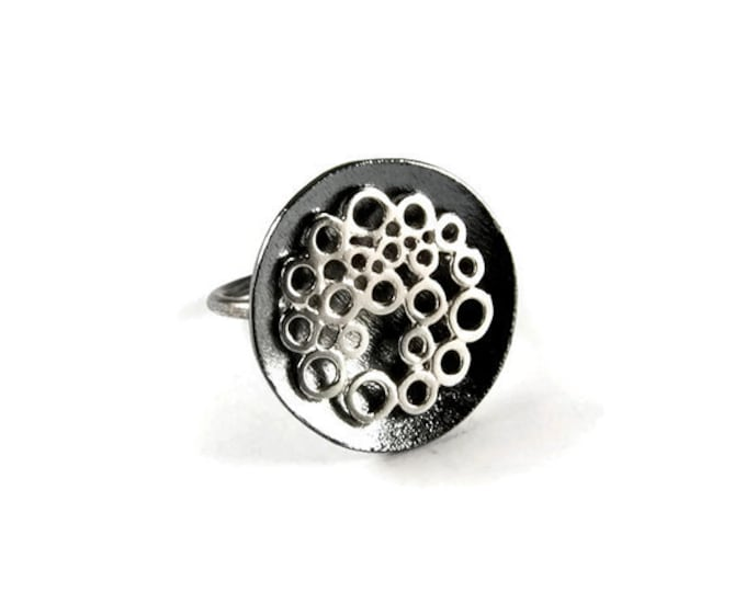 Bee's Nest Oxidized Round Open Ring Adjustable Band Little Circles Floating Over the Round Nest Statement Big Ring Modern Design