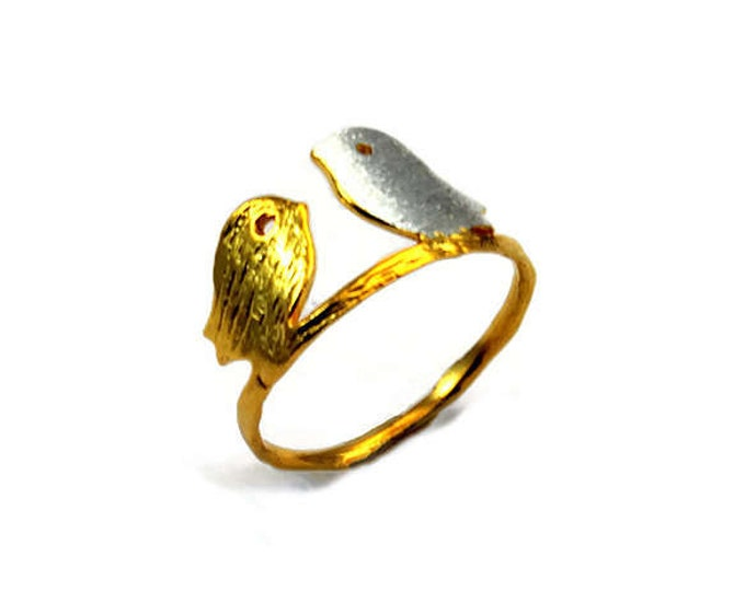 Love Bird Thin Band Sterling Silver Gold Plated Ring