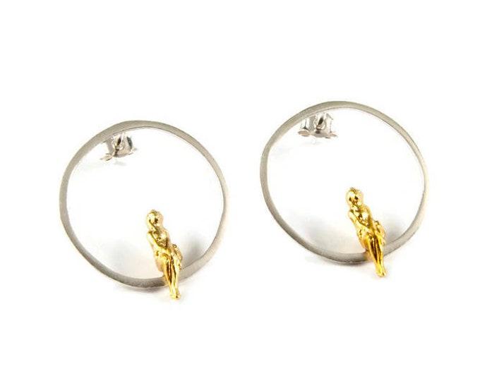 Circle Geometric Sterling Silver Hoops