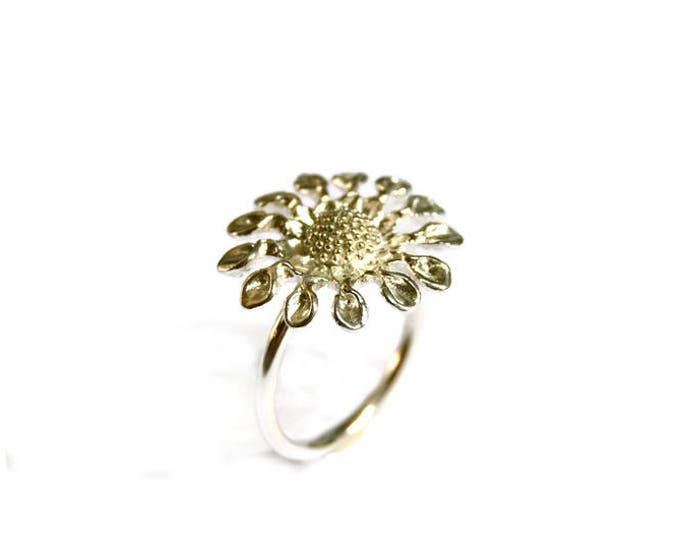 Sunflower statement Sterling Silver Gold Plated Ring