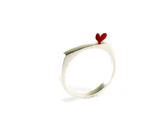 Modern Sterling Silver Stacking Rings Simple Lines Red Enamel Heart Love Symbol Cute Playful Gift Idea for Her Stackable Minimal Ring Design