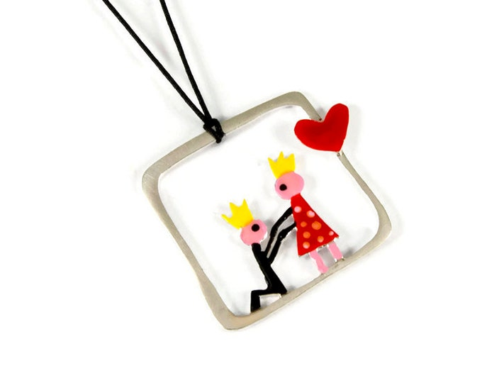 The Proposal Whimsical Silver Pendant Necklace