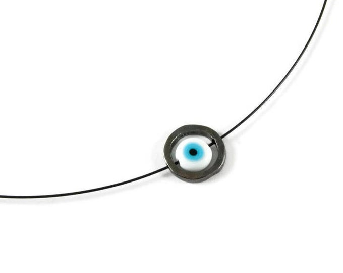 Evil Eye Protection Charm Sterling Silver Pendant