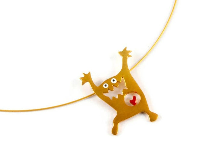Monsters Pendant Sterling Silver 22K Yellow Gold Plated