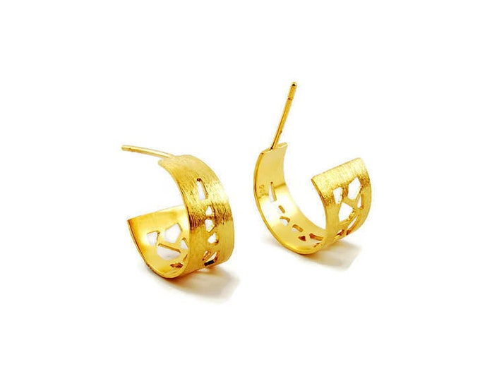 The Net Sterling Silver Gold Plated Earrings