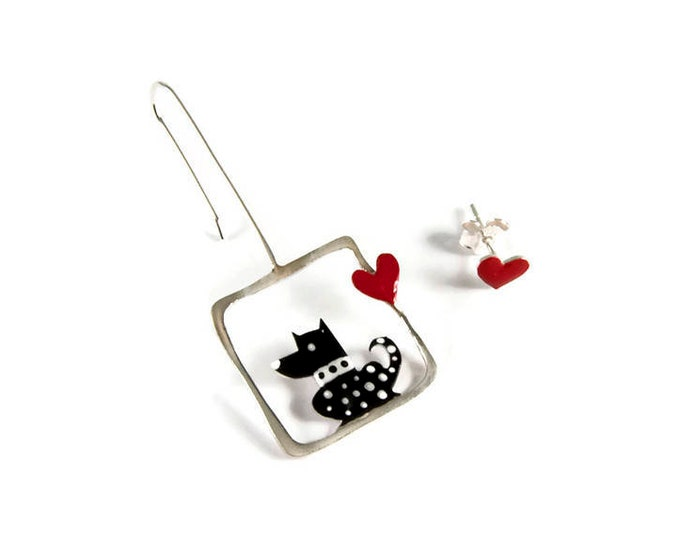 Puppy Love Mismatched Sterling Silver Earrings
