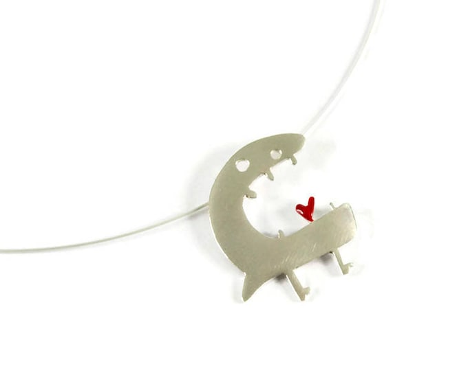 Speak Love Monsters Pendant Sterling Silver 22K Yellow Gold Plated Red Heart Love Tongue Unique Creature Minimal Animal Playful Design Gift