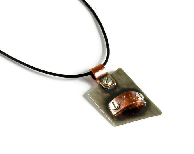 Fathers Day Sterling Silver Oxidized Copper Personalized Pendant