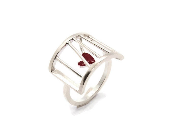 Prisoner Of Love Tiny Sterling Silver Cage Ring