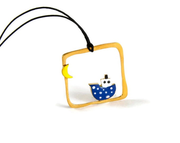 Travel the Seas Blue Boat Yellow Crescent Moon Pendant