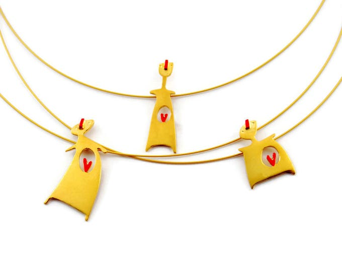 Cycladic Figurine Pendant Yellow Gold Plated Sterling Silver Pregnant