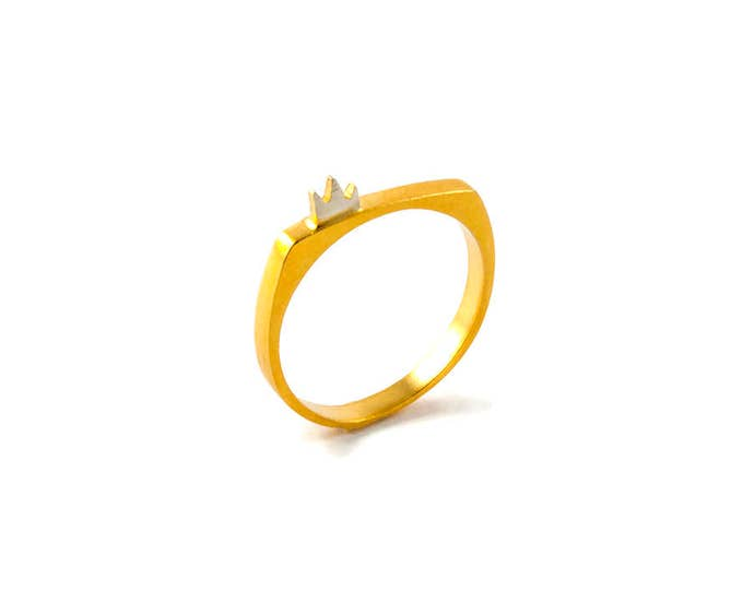 Stacking Ring Band with Tiny Crown on Top