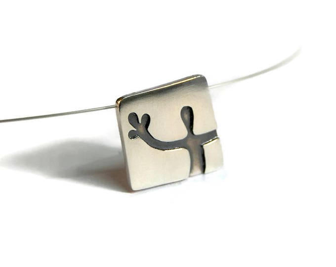Hi There Stranger Sterling Silver Square Pendant