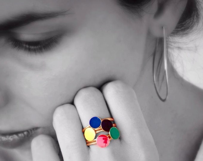 Confetti Colorful Stacking Rings Sterling Silver Gold Plated Rings Worn Separately or Together Sets Blue Yellow Green Red Black Modern Band