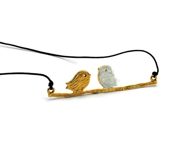 Love Birds Sterling Silver Gold Plated Pendant