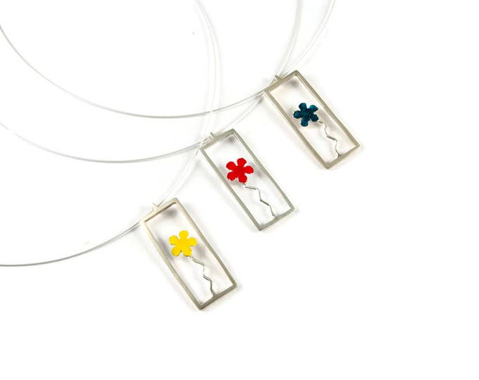 Little Prince Flower in a Jar Sterling Silver Pendant with Flower Colors Red Yellow Blue Enamels Blossoming Fashion Necklace Modern Minimal