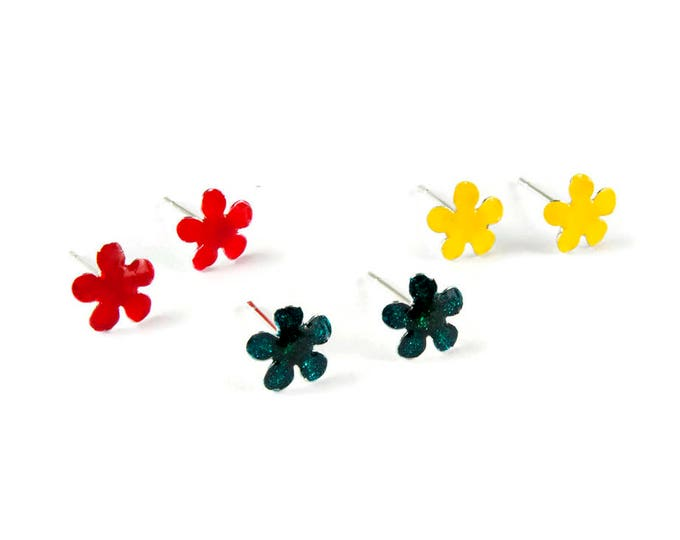 Tiny Flower Studs Sterling Silver Post Poppies