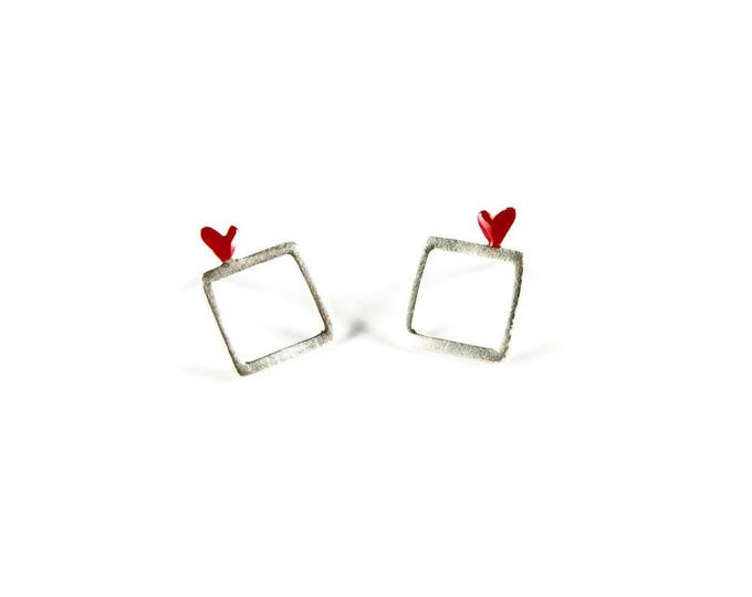 Playful Hearts over Square Sterling Silver Post Earrings
