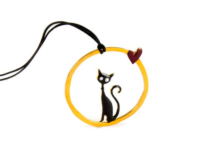 Cat Love Pendant Sterling Silver Round Circle