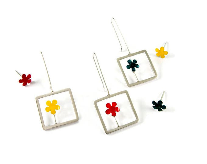 Spring Garden Mismatched Sterling Silver Flower Earrings