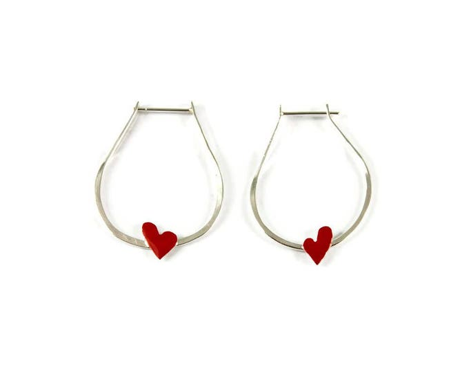 Flying Hearts Sterling Silver Hoops