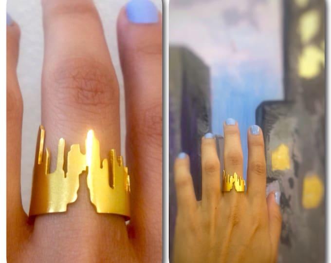 Manhattan Skyline Sterling Silver Statement Ring