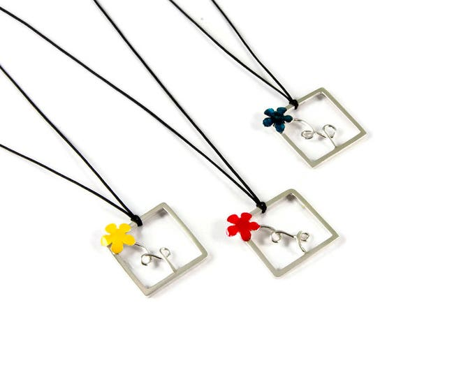 Happy Flower Sterling Silver Pendant