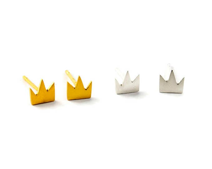 Love Reigns Sterling Silver or Gold Plated Crown Studs