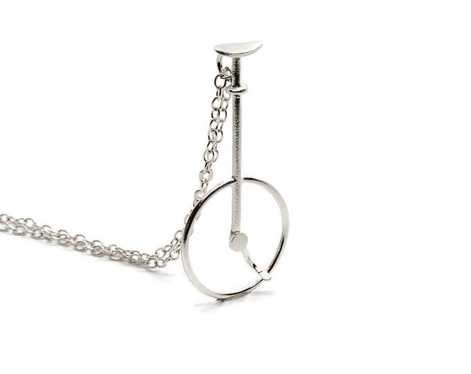 Vintage Unicycle Pendant Sterling Silver