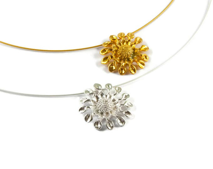 Sunflower Sterling Silver or Gold Plated Pendant