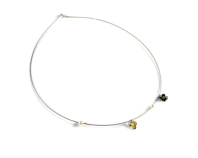 Flower Wreath Minimal Necklace Sterling Silver