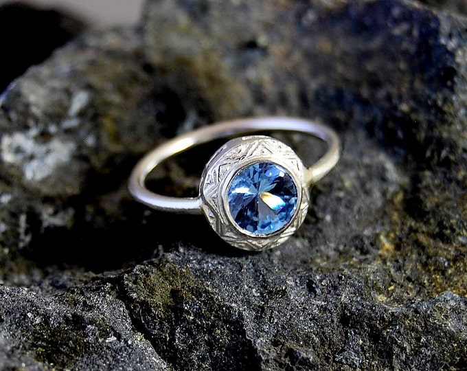 Water Queen White Gold 18K Engagement Ring Aquamarina