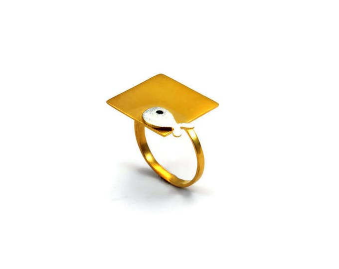 Square Statement Ring with a Fish